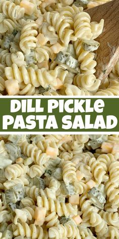 DILL PICKLE PASTA SALAD Dill Pickle Pasta Salad will be an instant favorite! Tender spiral pasta, 2 cups of diced pickles, cheese, and onion covered in a ultra creamy homemade dill dressing with pickle juice. Pasta Facil, Spiral Pasta, Cooking Recipes, Healthy Recipes, Dill Pickle Recipes, Recipes With Dill, Vegetarian Recipes, Simple Recipes, Side Dish Recipes