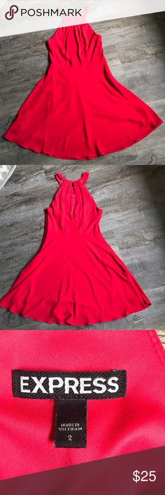 Express red dress size 2 Size 2 red Express dress. Hooks in back. Zips up side. Polyester. Like new condition Express Dresses Mini