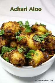 Achari Aloo ~ Baby Potato with Indian Pickled Spices Baby Potato Recipe Indian, Indian Potato Recipes, Indian Food Recipes, North Indian Recipes, Aloo Recipes, Paratha Recipes, Spicy Recipes, Lunch Recipes, Vegetarian Cooking