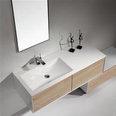 Mobile Bagno Lavabo Decentrato 130 Cm Design Moderno Sospeso
