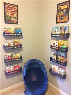 IKEA spice racks to make a reading corner