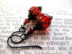 True Blood Red Gothic Earrings Niobium for by feralstrumpet, £12.00