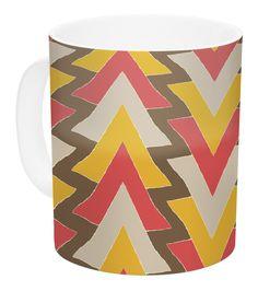 My Triangles in Red by Julia Grifol 11 oz. Orange Ceramic Coffee Mug