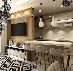 31 Ideas Home Theater Planejado Apartamento Pequeno Modern Kitchen Interiors, Modern Kitchen Design, Interior Design Kitchen, Small Room Interior, Apartment Interior, Apartment Ideas, Small Living Rooms, Home Living Room, Trendy Home
