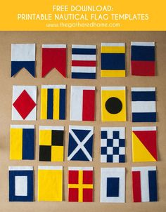 Find the templates AND tutorial for creating all 26 nautical flags in this post! Love this DIY felt nautical flag banner! Nautical Flag Alphabet, Nautical Banner, Nautical Quilt, Nautical Party, Nautical Home, Nautical Interior, Nautical Wall Decor, Vintage Nautical, Cover Design
