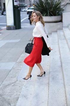 Red Midi Skirt, Collared Blouse. SKIRT: ALC (similar style here)     BLOUSE: Gat Rimon (similar here)     COAT: old similar here     SHOES: SJP Collection     BAG: Henri Bendel     EARRING: Majorica     LIPS: Nars (Bansar) Modest