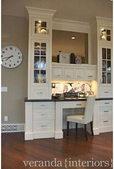 Contemporary built-in home office - this is exactly what I want for my family command center!