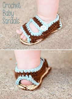 Crochet Baby Shoes Tutorial ♥ Free pattern for adorable baby sandals Crochet Booties Pattern, Crochet Baby Sandals, Crochet Shoes, Crochet Slippers, Crochet Patterns, Sewing Patterns, Birkenstock Style, Estilo Birkenstock, Crochet For Boys