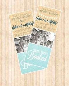 Printable Save the Date Bookmarks. Aqua/Yellow. Literary wedding.