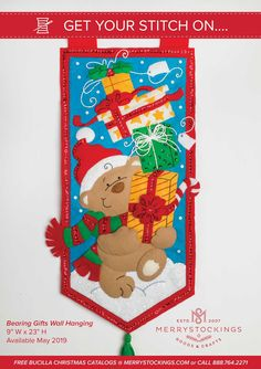 All new wall hanging from Bucilla available at MerryStockings. Called Bearing Gifts - super cute and fun design.