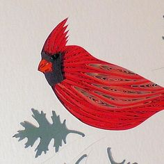 Quilled Cardinal original framed handcrafted wall art | QuillingbySandraWhite on ArtFire