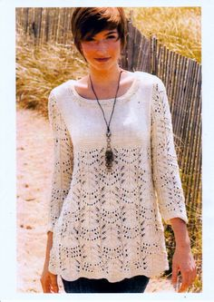 """Vintage Knitting Pattern pdf. Women's Wavy Lace Tunic Knitting to fit 35, 39, 45, 50.5"""" chest, by NostalgicStyles on Etsy"""