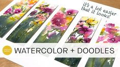 how to paint and doodle loose florals + minimize paper buckling (beginner level) Watercolor Flowers Tutorial, Watercolor Video, Watercolour Tutorials, Flower Tutorial, Abstract Watercolor, Watercolor Techniques, How To Paint Watercolor, Painting Techniques, Art Graphique