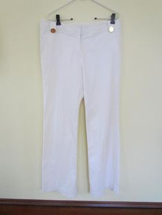 Trendy Tory Burch White Cotton Wide Leg Pants Gold Metal Accent Buttons Sz 12 #ToryBurch #CasualPants