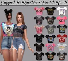 LumySims: Cropped Tee - Favorite Bands & more • Sims 4 Downloads