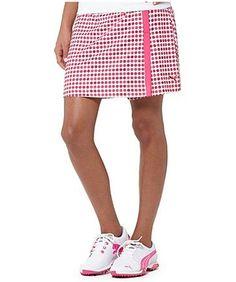 Puma Women's Dot Pattern Golf Skirt Beetroot | #Golf4Her NewArrival #WearItFirst #GolfClothes