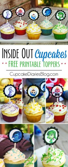 Inside Out Cupcakes with FREE Printable Toppers - Cupcake Diaries Cupcake Toppers, Cupcake Cakes, Party Cupcakes, Mini Cupcakes, Inside Out Party Ideas, Inside Out Cakes, Cupcake Diaries, Snacks Für Party, Snacks Kids