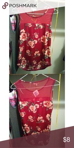 Red flower shirt Brand new never work no tears or stains size is m fits a small Tops