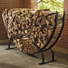 Outdoor Firewood Rack, Firewood Holder, Indoor Firewood Storage, Log Holder, Into The Woods, Traditional Fireplace, Traditional Homes, Fireplace Accessories, Welding Projects