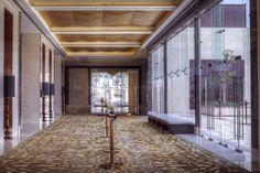 The foyer leading to Park Hyatt Abu Dhabi's ballroom at sets the expectation of elegance. #Ballroom #Design #Travel