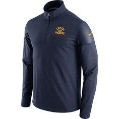Green Bay Packers Nike Elite Coaches Alt Dri-FIT Half-Zip Jacket - Navy