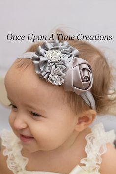 dafeec745c3 Items similar to Silver Winter Christmas Headband - Baby Girl Hair Bow -  Dressy Hairbow - Shades of Gray - Little Girl s Holiday Headband on Etsy