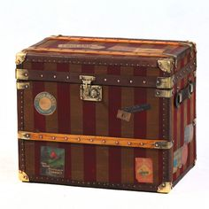 canvas leather storage trunk with brass fittings. Top quality trunk made by hand using finest materials. We sell unique chests, trunks & blanket boxes. Unusual Furniture, Furniture Ideas, White Painted Furniture, Vintage Trunks, Antique Trunks, Old Suitcases, Steamer Trunk, Trunks And Chests, Storage Trunk