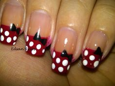 Gel Nail Art : Cute Red French Polka Dot Nail Design with Black ...