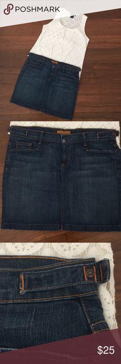 James Cured by Seun Denim Skirt James Cured By Seun Denim Skirt - Worn Once! - Minor distressing - Orange stitching - Size 32 James Cured by Seun Skirts Mini