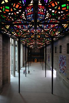 The Leonard French Stained Glass Ceiling, Great Hall, National Gallery, Melbourne, Victoria, Australia.