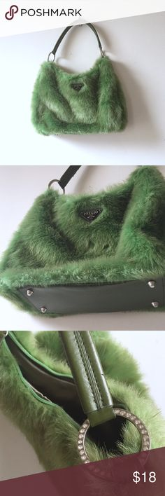 Furry green bag Handle piping has some peeled off spots from storage. Zip closure, rhinestone handle rings. Never got a chance to use this, clean interior. Unique baggie  None Bags Hobos