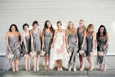 ladies in #gray #bridesmaids Photography by onelove-photo.com, Dresses by jcrew.com  Read more - http://www.stylemepretty.com/2013/09/17/santa-monica-wedding-from-onelove-photography/
