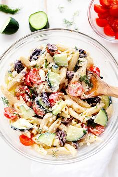 Greek Tzatziki Pasta Salad is a delicious pasta salad with fresh cucumbers,kalamata olives, and cherry tomatoes. It is tossed in a tangy tzatziki dressing and is perfect for your next potluck! It is getting HOT outside. And our AC has been running all day. Say hello to ginormous summer electric bills. I just noticed it …