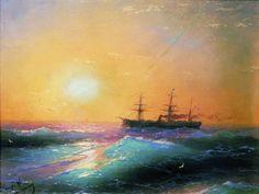 Айвазовский. Закат на море, 1886 г.
