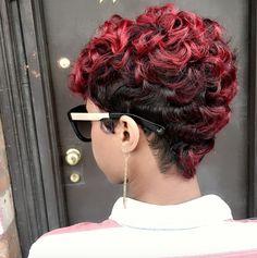 Red-hawk via - Black Hair Information Short Sassy Hair, Short Curls, Short Hair Cuts, Pixie Cuts, Short Pixie, Red Pixie, Short Wigs, Love Hair, Gorgeous Hair