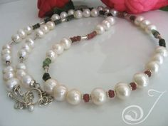 Carol - Tourmaline Necklace with watermelon Red Tourmalines in chunky white pearls Long Pearl Necklaces, Pearl Jewelry, Tourmaline Necklace, Watermelon Tourmaline, Pearl White, Beaded Bracelets, Pearls, Sterling Silver, Chain