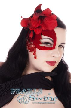 """""""Scarlet Woman"""" Half Mask Fascinator Couture Burlesque Royal Ascot Hat Velvet Hair Accessory by Bridal Headwear, Burlesque Fascinators, Millinery by Pearls & Swine"""