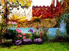 A large scale Wall Mural for an Indonesian client in Tanah Baru, Java (2012) - Partial Side Wall view.The Wall Murals cover over 100m2 of painted surface in three main parts - Front Entrance (bamboo and brick wall), Back-wall (rice fields in the mountain) and Side-wall (an ancient fortress next to a waterfall) ... they are connected and intertwined with real plants and real water-features ... an interesting blend of real nature and my personal interpretation of such beauty. Link to the…