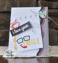 Card by Amy Sheffer. Reverse Confetti stamp sets Oliver Owl and You Make Me Smile.Confetti Cuts: Doin' the Wave, Love Note, Office Edges and Double Edge Scallop Border. Encouragement card. Valentine's Card. Anniversary Card.