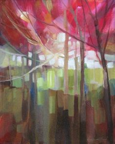 This is so fresh - love the colours & the negative shapes Abstract Landscape Painting, Landscape Art, Abstract Art, Abstract Trees, Abstract Shapes, Art Mural, Tree Art, Painting Techniques, Painting Inspiration