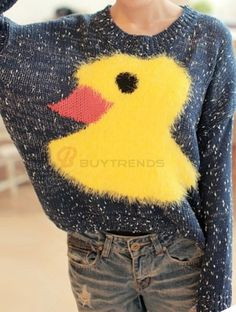 Lovely Birds Printed Solid Color Pullover Sweater on buytrends.com