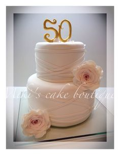 Golden wedding anniversary cake by  Miki's Cake Boutique