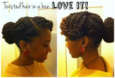 Twisted hair in a bun.very chic. Be Natural, Natural Hair Care, Natural Hair Styles, Natural Beauty, Natural Updo, Love Hair, Big Hair, Twist Hairstyles, Cool Hairstyles