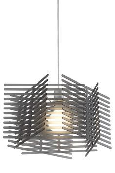 'Peignes' A very pared-down suspended ceiling light with an asymmetrical shade evocative of interwoven combs.  Suspended ceiling light comprising 6 combs in opaque white acrylic with a sanded finish and structure in satin white lacquered steel, or 6 combs in translucent anthracite acrylic with structure in satin chromed steel. Equipped with 1 x 20 W E 27 compact fluo globe bulb Ø 90 mm, colour 827 (warm white). 110 cm transparent cable.