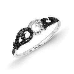 14k White Gold Black and White Diamond Ring