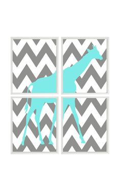Giraffe Nursery Art Chevron - Gray Aqua Decor - Print Set Of 4 8x10  - Baby Boy Children Safari Zoo - Wall Art Home Decor