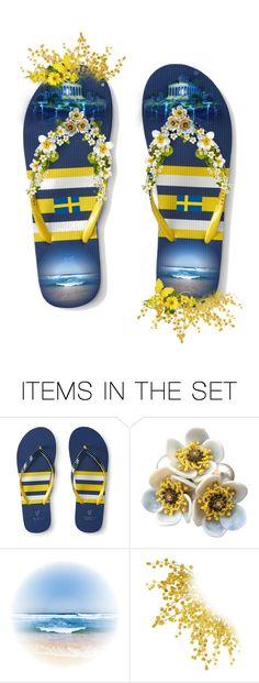 """Blue & Yellow Flip Flops for Sweden! Svenske Flaggans Dag!"" by laila-bergan ❤ liked on Polyvore featuring art"
