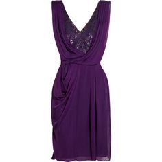 Matthew Williamson Embellished lace and draped silk-chiffon dress ($599) ❤ liked on Polyvore featuring dresses, vestidos, short dresses, purple, purple cocktail dresses, purple dress, mini dress, short lace cocktail dress and sequin cocktail dresses