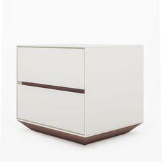 床头柜 板材 高光烤漆 木色缝 B114 W550*D460*H480 mm