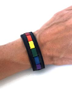 Gay jewelry, gay pride cuff bracelet, rainbow leather cuff bracelet, lgbt, lesbian jewelry, gay pride, gay pride wristband, lgbt jewelry. by threedollarbillshop on Etsy